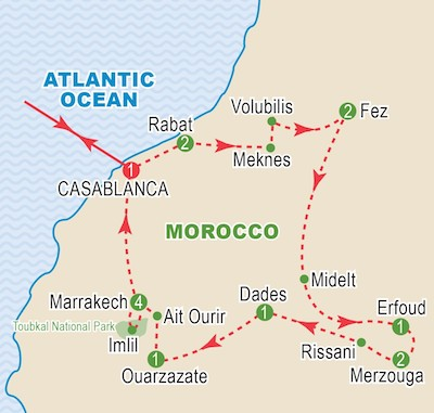 Morocco Circuit Map, Imperial Cities & South Tour