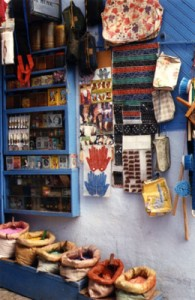 Colored Pigment for Sale In Winding Streets of Chaouen