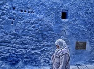 Woman Walking in Chefchaouen