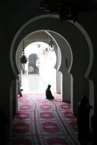 Man Praying at Kairaouine Mosque Fes